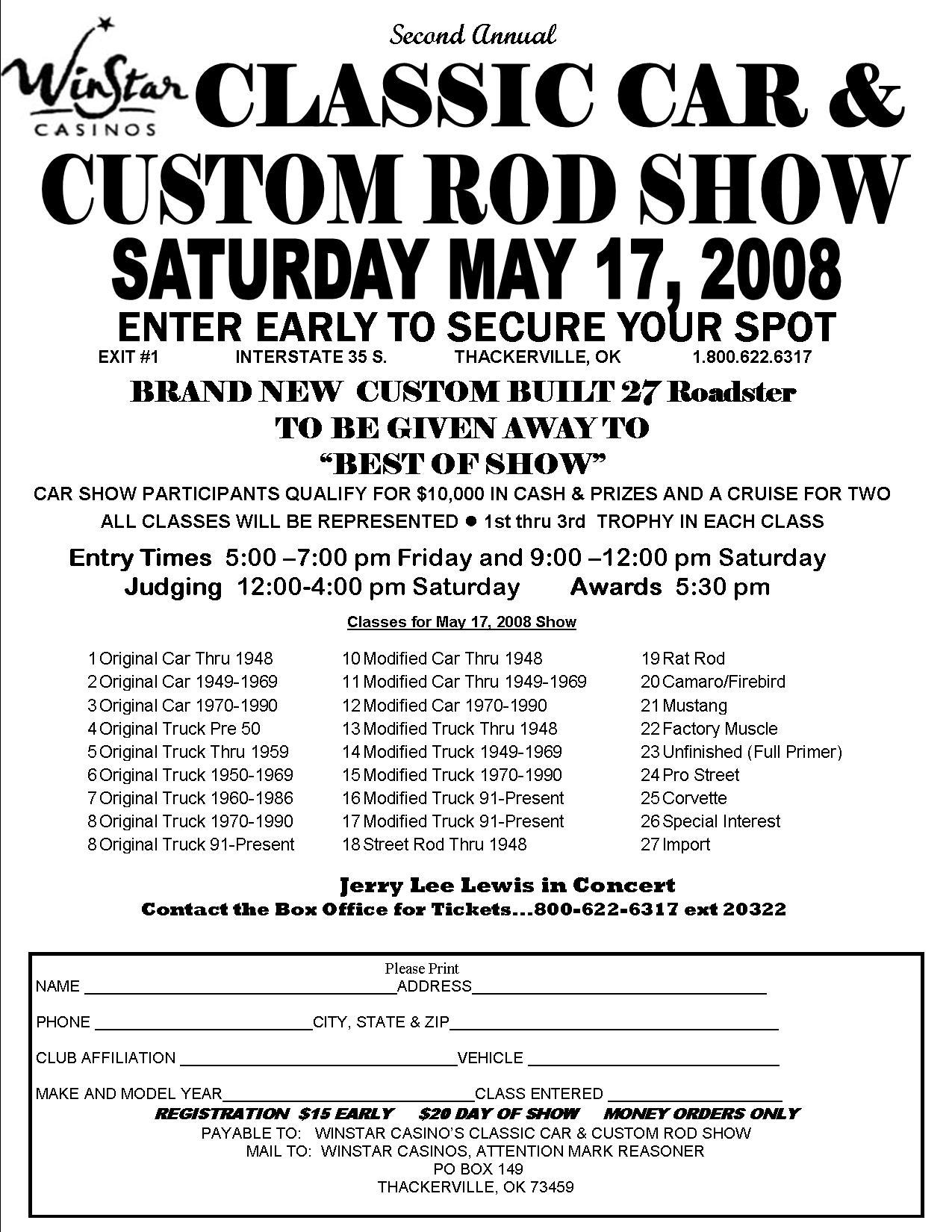 Cowtown Vettes Misc Car Shows - Show car sponsorship